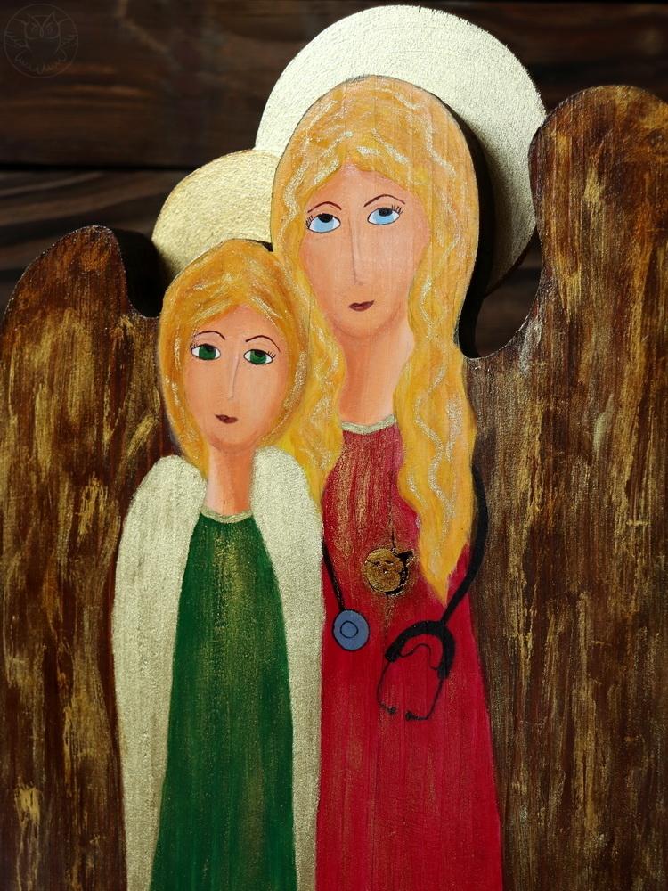 anioł dla lekarki malowany na desce