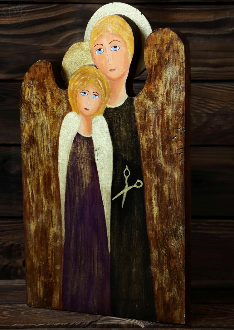 anioł dla fryzjera malowany na desce