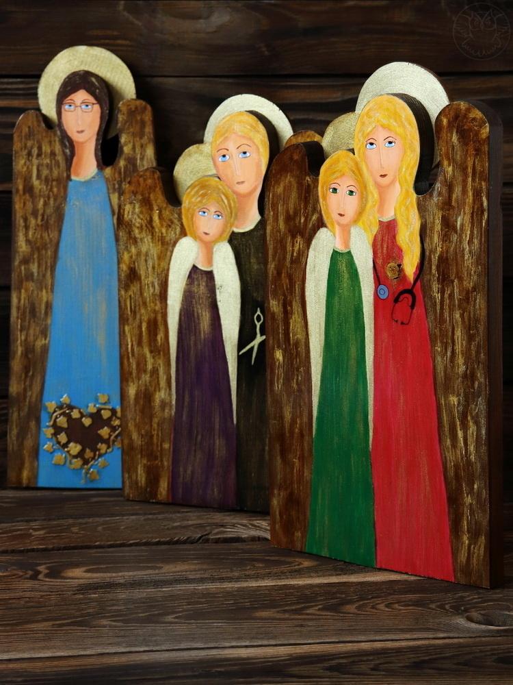 anioły ze starych desek ręcznie malowane