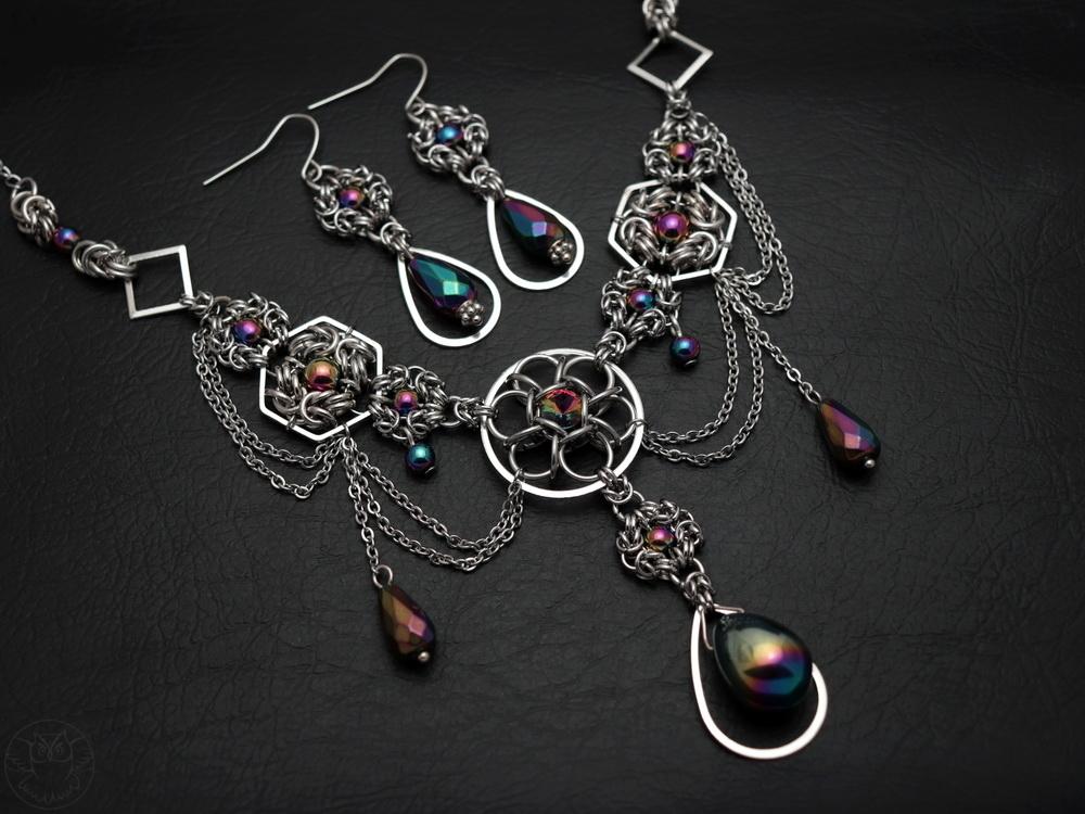 wieczorowy komplet biżuterii chainmaille