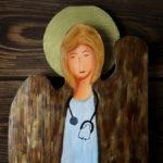 ręcznie malowany anioł dla pani doktor