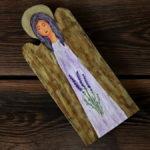 drewniany aniołek z lawendą
