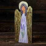 lawendowy aniołek z drewna