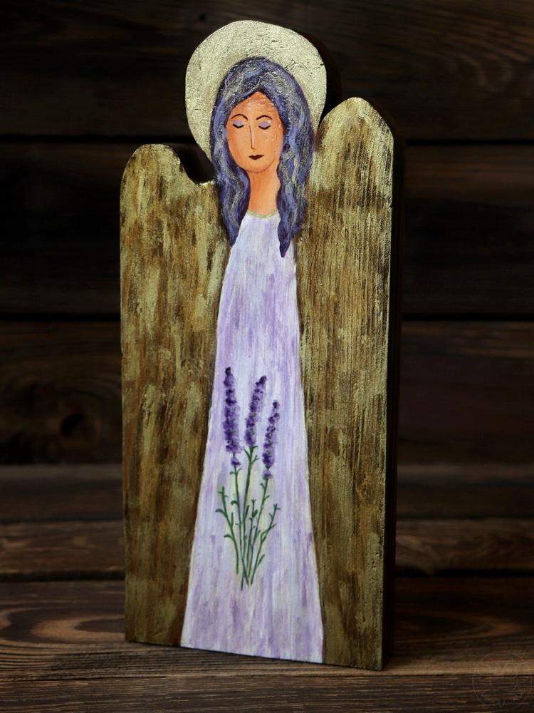 drewniany aniołek lawendowy