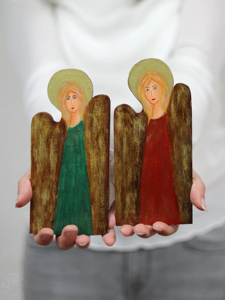 małe aniołki ręcznie malowane