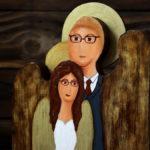 drewniany anioł na ślub
