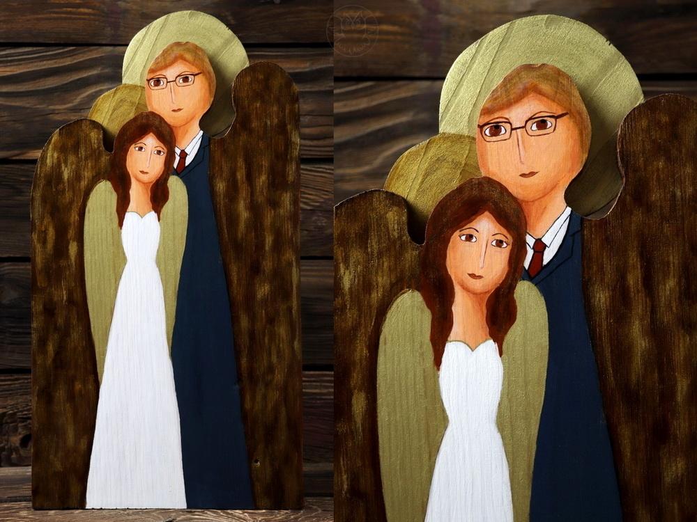ślubny anioł Para Młoda z drewna