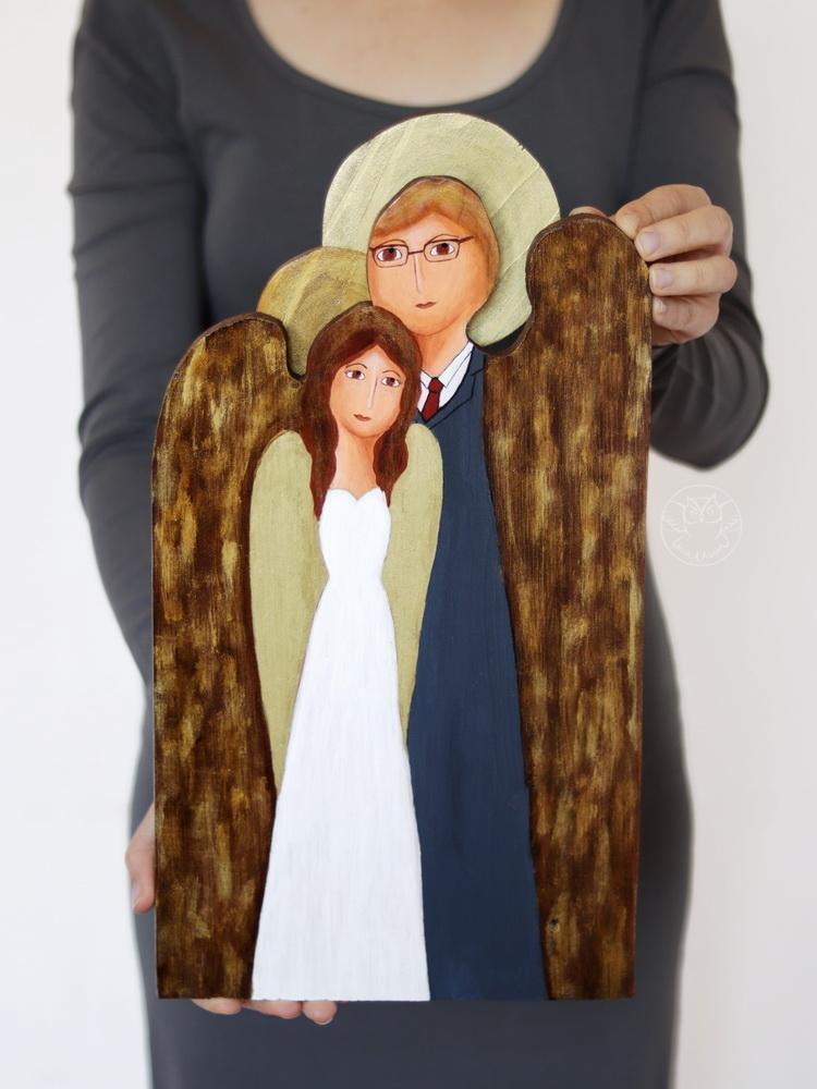 drewniany anioł prezent ślubny
