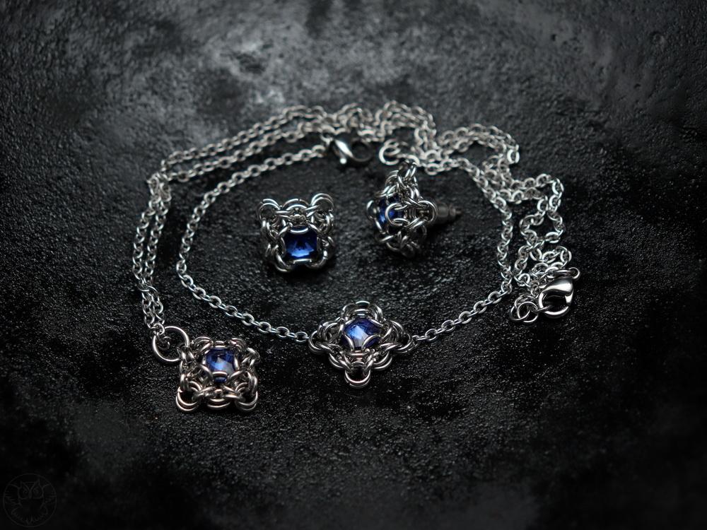 gotycki komplet biżuterii chainmaille