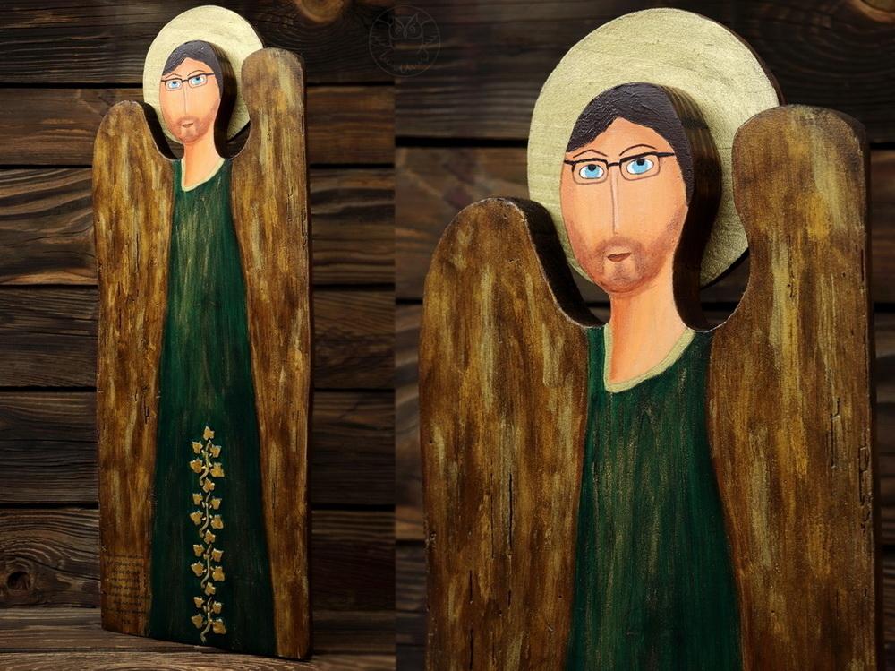 anioł dla księdza malowany na desce