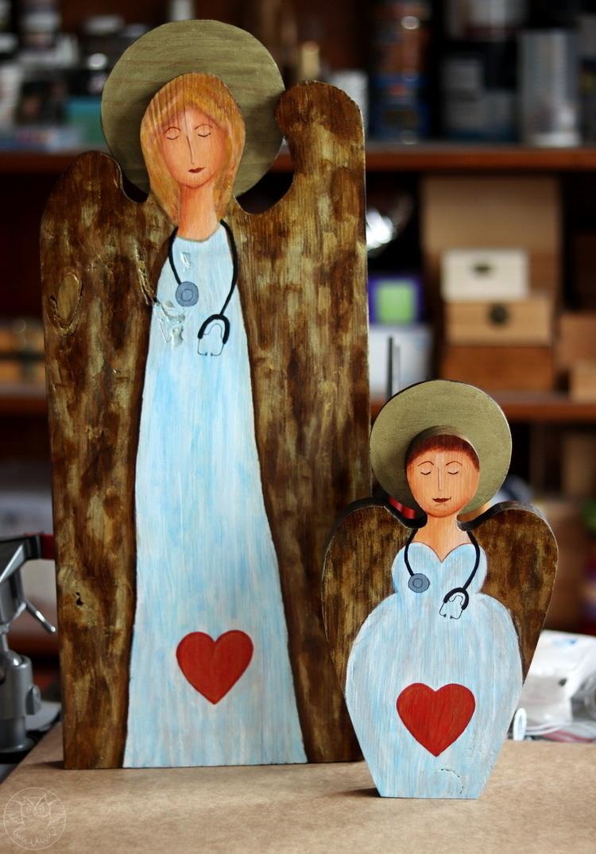 lekarskie anioły malowane na deskach