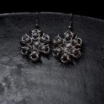 kolczyki śnieżynki z kryształkami