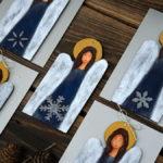 aniołki z drewna ręcznie malowane