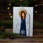bożonarodzeniowa kartka z aniołkiem