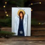 ręcznie robiona kartka z aniołem