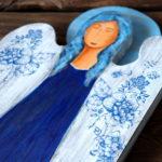 drewniany anioł decoupage