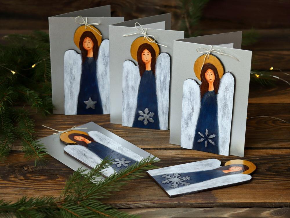 bożonarodzeniowe kartki z aniołkami