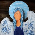niebieski anioł decoupage