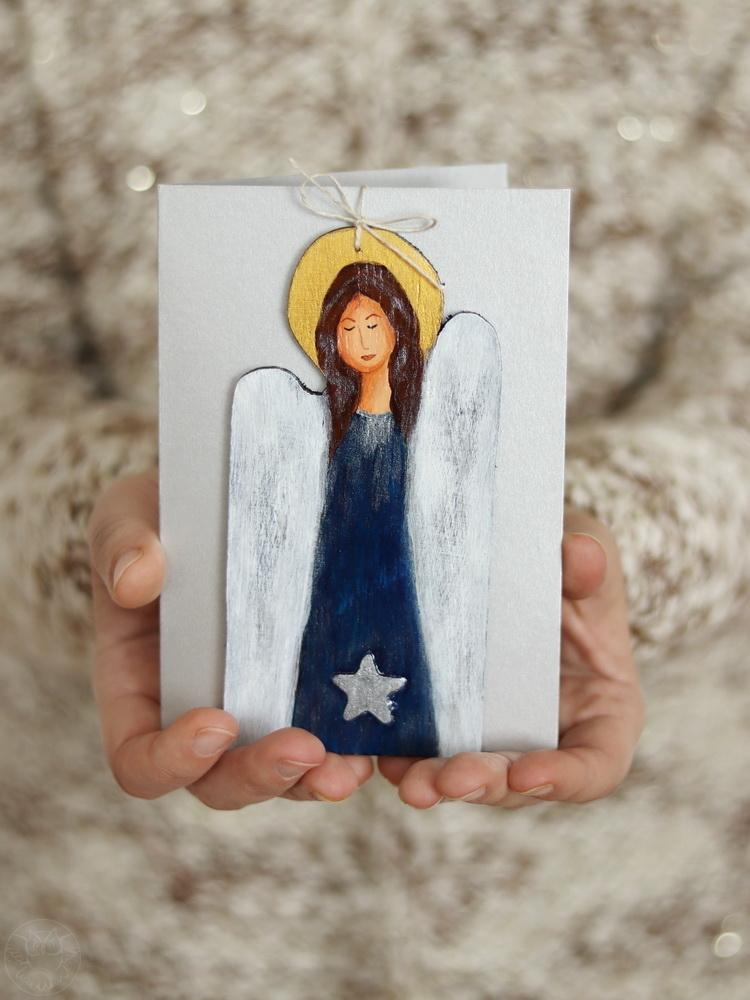 świąteczna kartka z aniołkiem