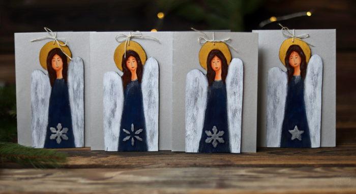 świąteczne kartki z aniołkami