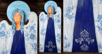 niebieski anioł z kwiatami