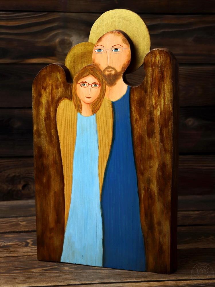 drewniany anioł dla pary zakochanych